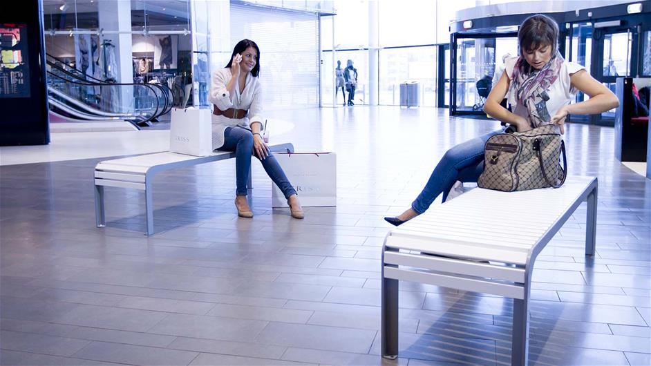 lappset nonstop benches for shopping malls