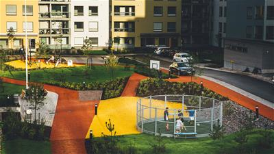 Lappset housing area with sport equipment asuinalueen liikuntapuisto